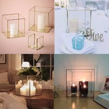 Gold Tall Vases Glass Cylinder Tealight Holder Ceremony Decorative Home Table