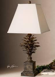 Pine Cone Home Decor Metal Pine Cone Table Lamp Lodge Cabin Nature Home Decor Lighting