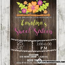 tropical luau party invitation for girls rustic wood