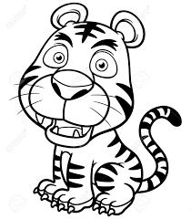 vector illustration of tiger cartoon royalty free cliparts