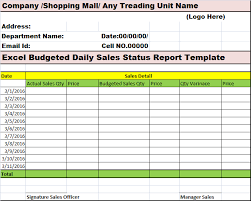 Daily Sales Report Template Excel Free Excel Budgeted Daily Sales Status Report Template Free Report