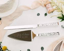wedding cake knives and servers personalised personalized kate spade rosy glow cake knife server set