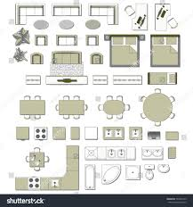 Icon Floor Plan by Set Top View Interior Icon Design Stock Vector 593947313