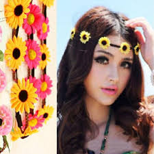 floral headband hot sale artificial sunflower floral headbands boho wedding bridal
