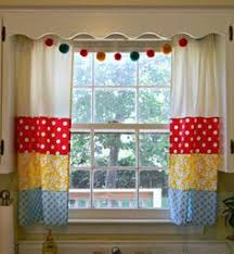 modern kitchen curtain panel with brightly colored flowers in our