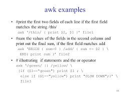 pattern matching using awk exles 1 lecture 10 introduction to awk cop 3344 introduction to unix