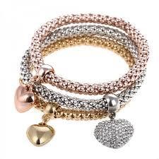 heart charm bangle bracelet images Stylish heart charm bangle elastic bracelets 3 pcs set jpeg