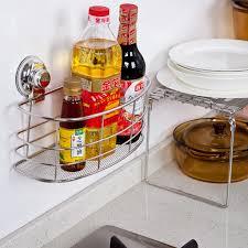 Bathroom Storage Organizer by Stainless Steel Sucker Kitchen Bathroom Storage Shelf Rack Basket
