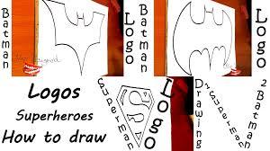 draw superheroes logos easy kids paper batman