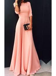maxi dress peach colored three quarter length sleeves