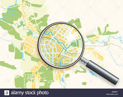 City Map Glasses Map Of The City Under Magnifying Glass Stock Photo Royalty Free