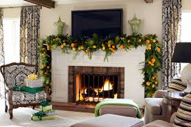 gorgeous living room decoration using orange fruit fireplace