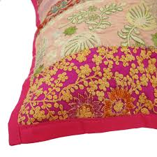 Magenta Home Decor by Indian Cushion Cover Pillow Sham Embroidered Home Decor Cotton