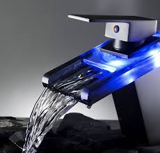 Led Bathroom Faucet Aquafaucet Orb Finish Led Colors Waterfall Bathroom Sink Faucet
