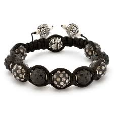 shamballa beads bracelet images Shamballa bracelet with black beads in black gray rhinestones jpg