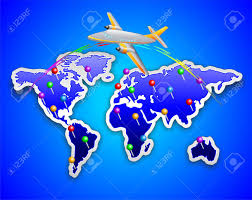 World Map Pins by World Map Sticker With Plane Royalty Free Cliparts Vectors And