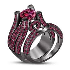 black and pink wedding ring sets black and wedding ring sets lake side corrals