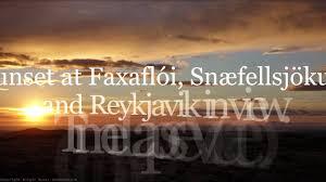 sunset in reykjavik faxafloi and snaefellsjokull youtube