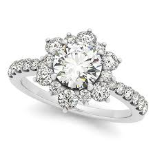 engagement rings flower images Diamond semi eternity flower engagement ring 14k white gold 1 75ct jpg