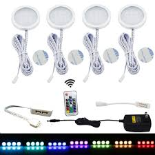 puck under cabinet lighting aiboo rgb led under cabinet lighting kit 4 pack color changing