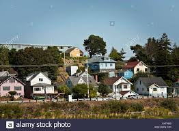 A Frame Houses Pictures Painted Wood Frame Houses On Hill Overlooking Youngs Bay Astoria