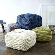 Knitted Ottoman Fabric Pouf Ottoman Crochet Blue Green Beige Gray Pouf Ottoman