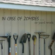 family garden quotes funny wall decal in case of zombies word family garden yard home