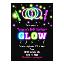 glow party glow party birthday neon black light invitation zazzle