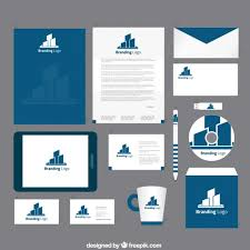 coorporate design corporate identity in navy blue tone vector free