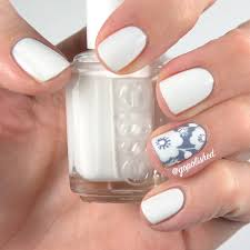 go polished floral nail design gray and white
