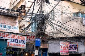 tangled electrical wiring in street delhi india