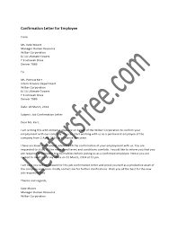 Employee Announcement Template A Confirmation Letter Is A Document Handed Over To An Employee
