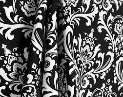 White And Black Damask Curtains Window Curtains Etsy
