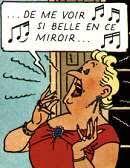 La Castafiore singing l'Air des Bijoux dans l'album Tintin et la Castafiore