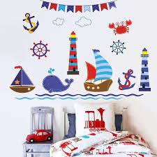 chambre de petit gar n design interieur stickers muraux paysage maritime bateaux baleine