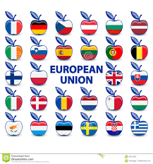 Union Flags Collection Of Apples With European Union Flags Stock Illustration