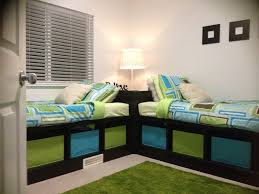 Bedroom Ideas For Brothers Brown Wooden Carpenter Corner Bed With Cabinet Storage Also White
