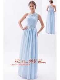 Light Blue Chiffon Dress Light Blue Empire One Shoulder Prom Dress Chiffon Beading Floor