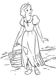 snow white keeps house for the dwarfs coloring page free