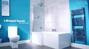 walnut 1670 x 850 right hand l shaped shower bath with 6mm screen