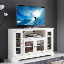 White Tv Cabinet With Doors Wooden Tv Cabinet With Glass Doors