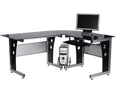 bureau informatique verre trempé d informatique angle pour ordinateur meuble table de travail