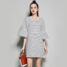 online get cheap white linen dresses with black stripes