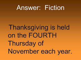 thanksgiving fact or fiction ppt