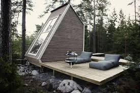 Small House Cabin Small House Design With Large Wood Window To Enjoy Summer Lake