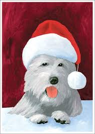 christmas westie dog christmas card by allport editions
