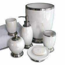 Damask Bathroom Accessories White Ceramic Metal Bath Accessories Set Includes Lotion