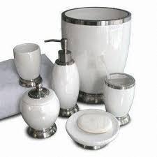 Porcelain Bathroom Accessories Sets White Ceramic Metal Bath Accessories Set Includes Lotion