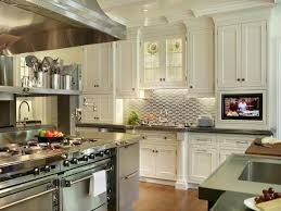 backsplash with white kitchen cabinets stainless steel backsplash behind range linoleum flooring square