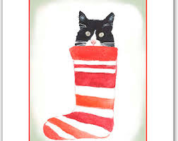 christmas cards in watercolor cat christmas card animal christmas card animal cards